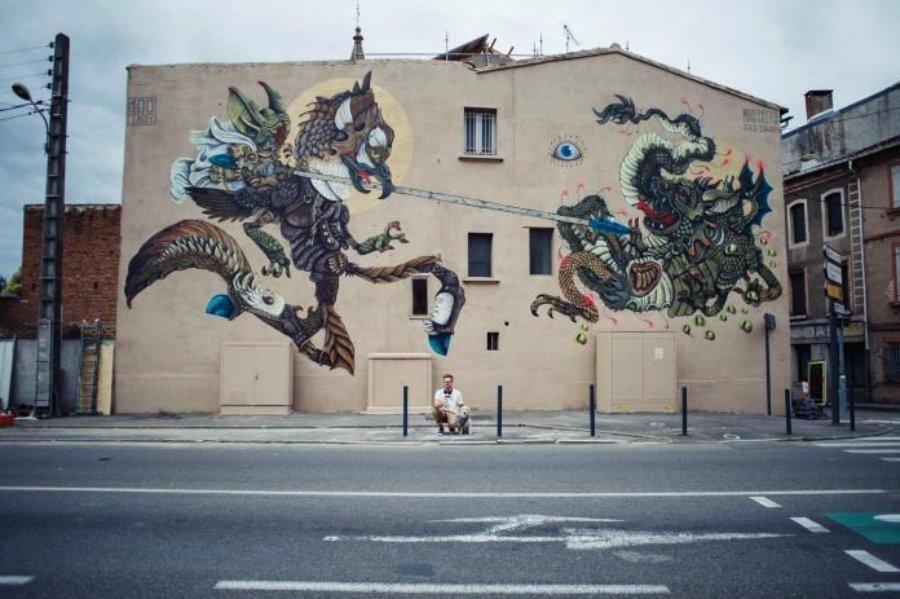 Vista lejana del mural