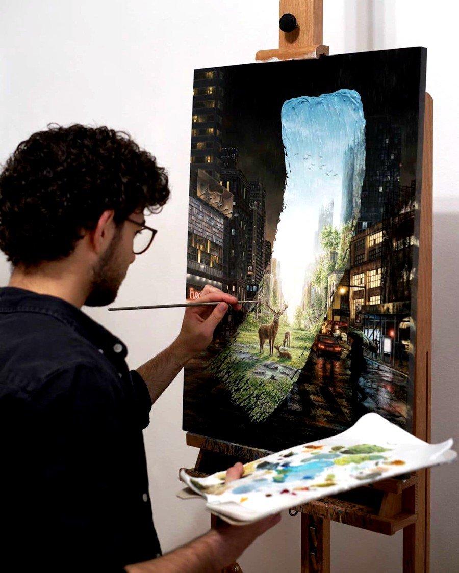"Pintura de las serie  ""Brushstrokes in Time"""