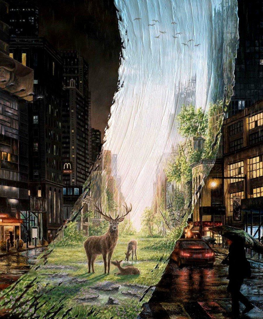 "Pintura de las serie ""Brushstrokes in Time"" por David Ambarzumjan"
