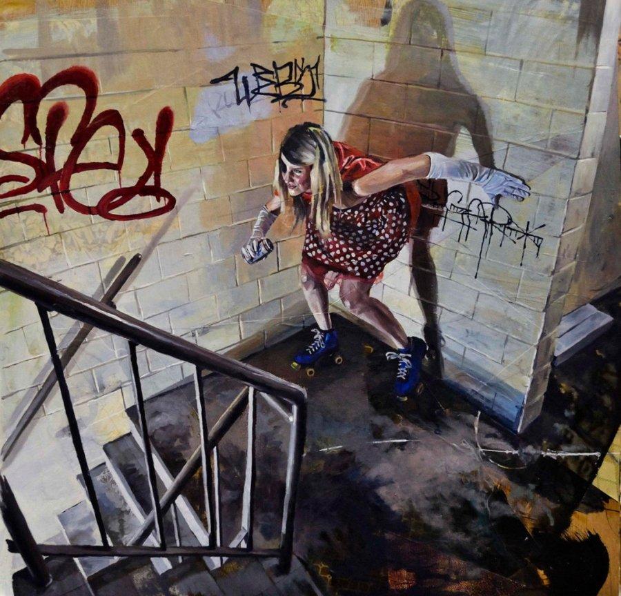 pintura de Drew Young con mujer en una escalera