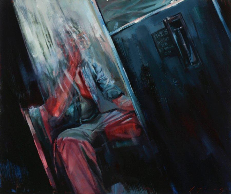 pintura de Drew Young con la imagen borrosa de hombre