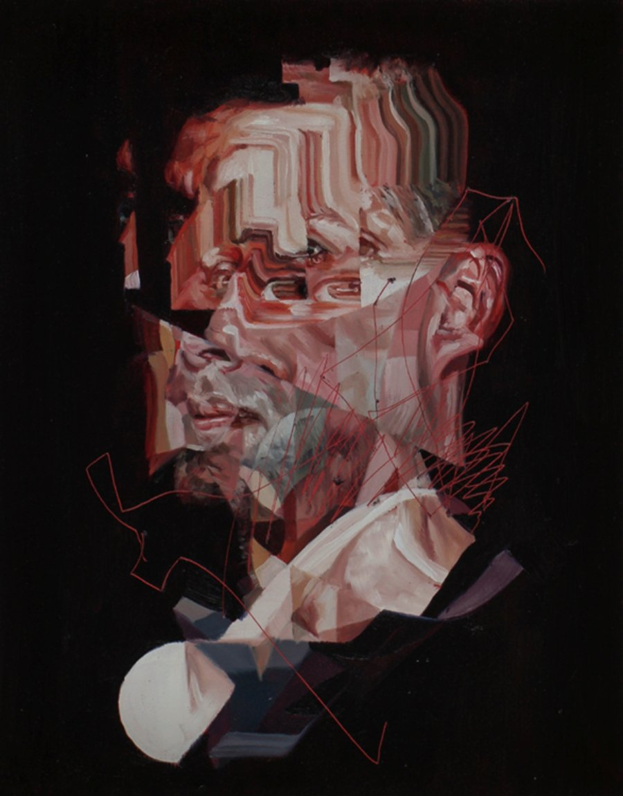 pintura de Drew Young de un retrato distorsionado