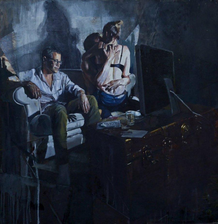 Pintura de dos personas viendo televisión