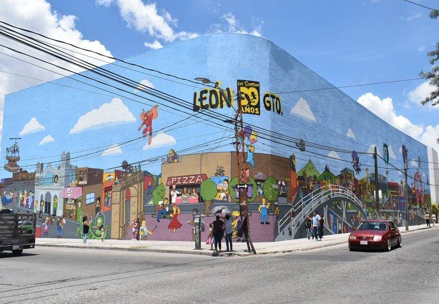 Mural de los Simpson en León Guanajuato