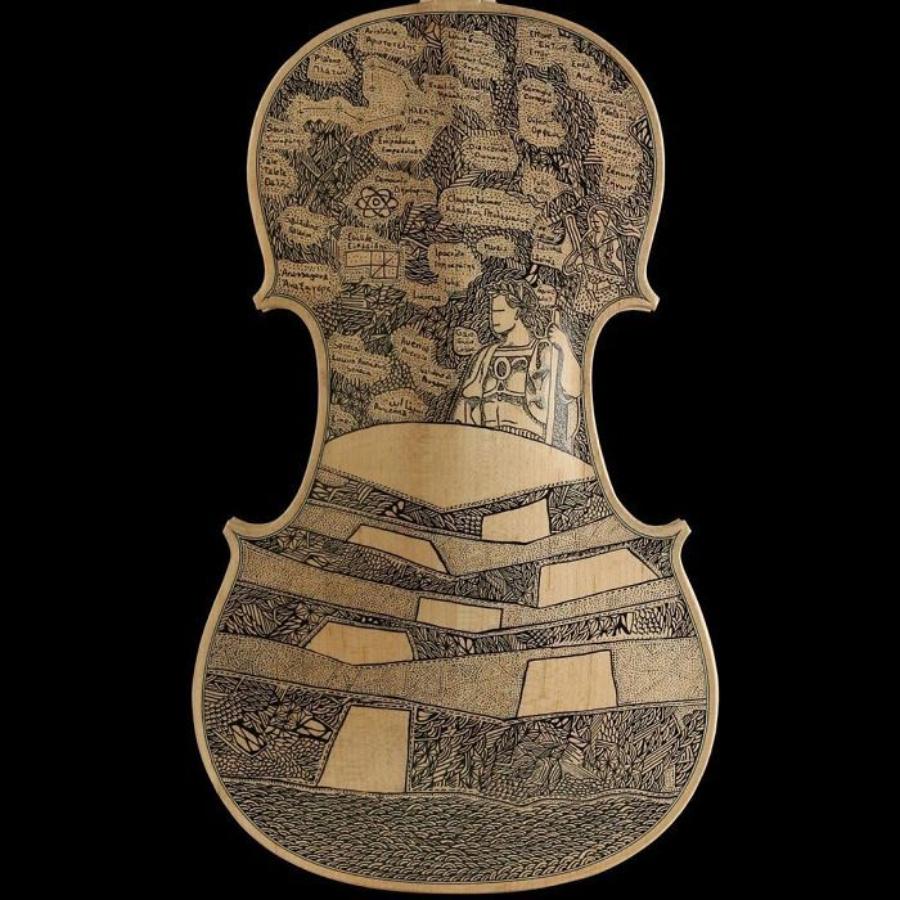 """Ilustración de uno de los cantos de """"La Divina Comedia"""" sobre violín"""