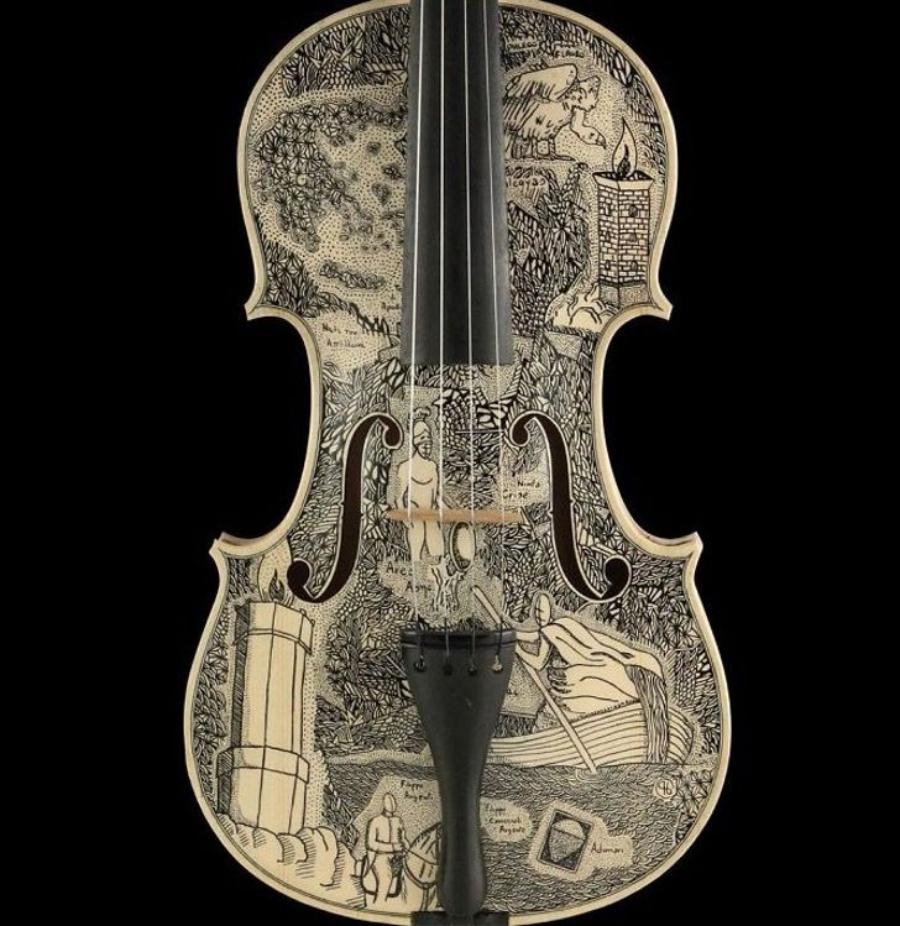 """Ilustración de uno de los cantos de """"La Divina Comedia"""" sobre violín por Leonardo Frigo"""