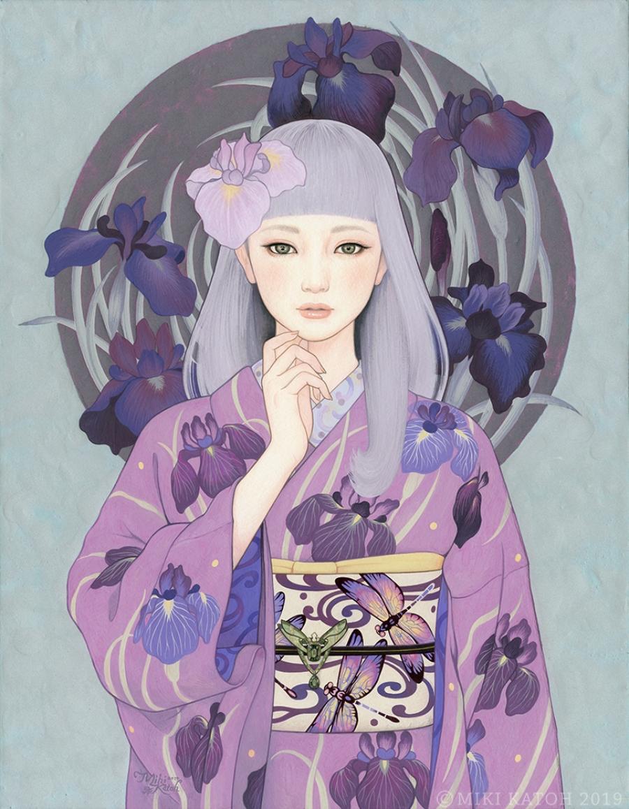 Geisha con Kimono morado, parte de las pinturas de Miki Katoh