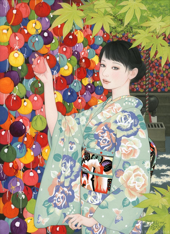Geisha con kimono floreado, parte de las pinturas de Miki Katoh
