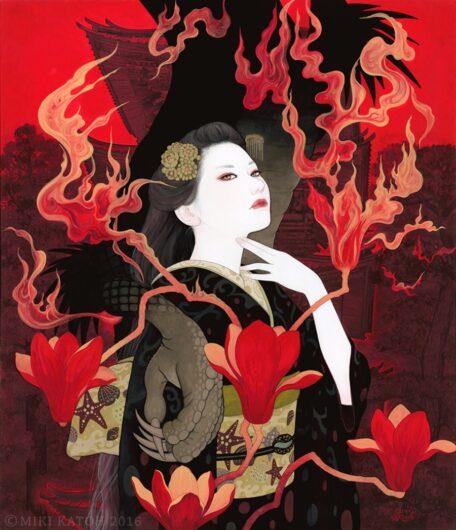Geisha con kimono negro, parte de las pinturas de Miki Katoh