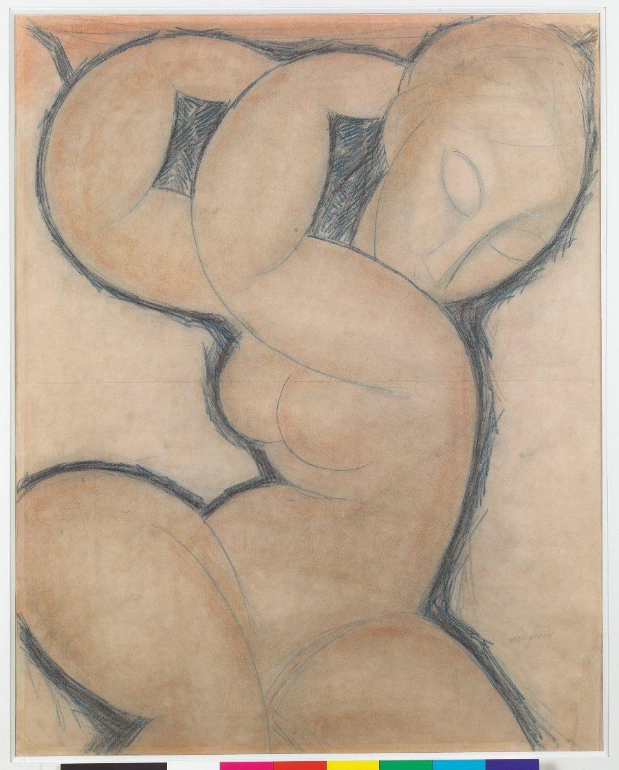 Amedeo Modigliani, Cariatide (bleue) [Cariátide (azul)], ca. 1913, lápiz azul sobre papel, 56.5 x 45 cm, colección privada. © Photo: Pinacothèque de Paris