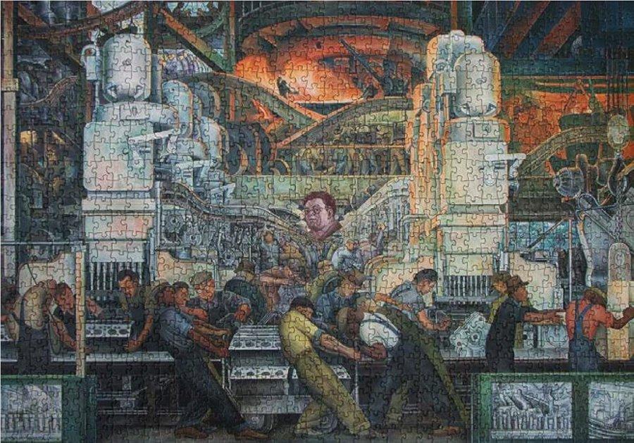 Jonathan Hernández Image industry Rompecabezas con fragmento del mural Detroit Industry (Diego Rivera, 1933) intervenido con billete de 500 pesos 57 x 80 x 4 cm 2018-2019Precio público: 8,000 usd Precio #Plataforma2020: 6,400 usd