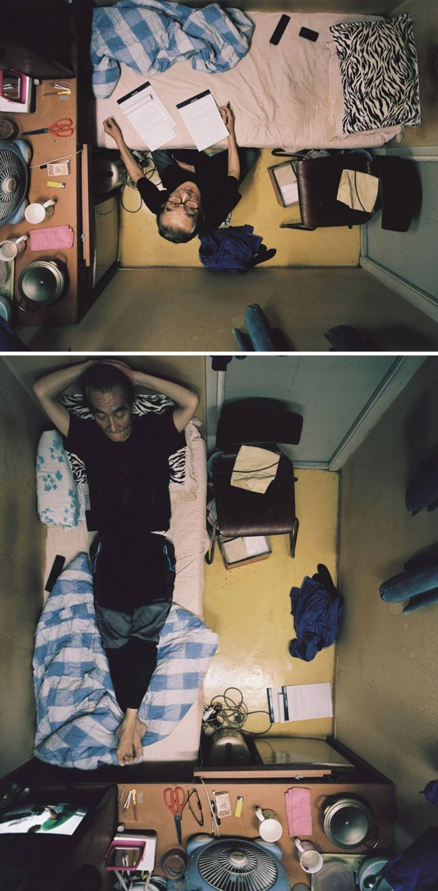 """Fotografía de un hombre viviendo en un """"Goshitel"""""""
