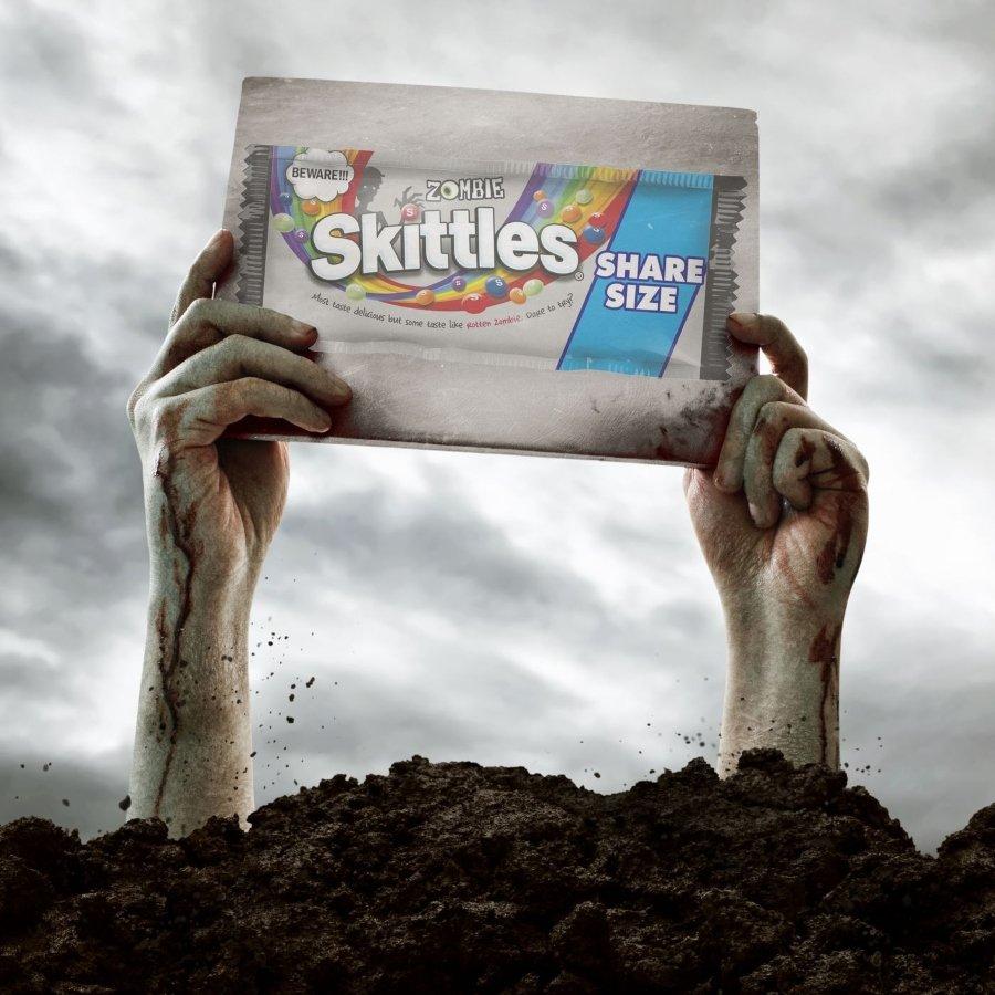 Aspecto de los Skittles Zombie, edición para Halloween de los caramelos
