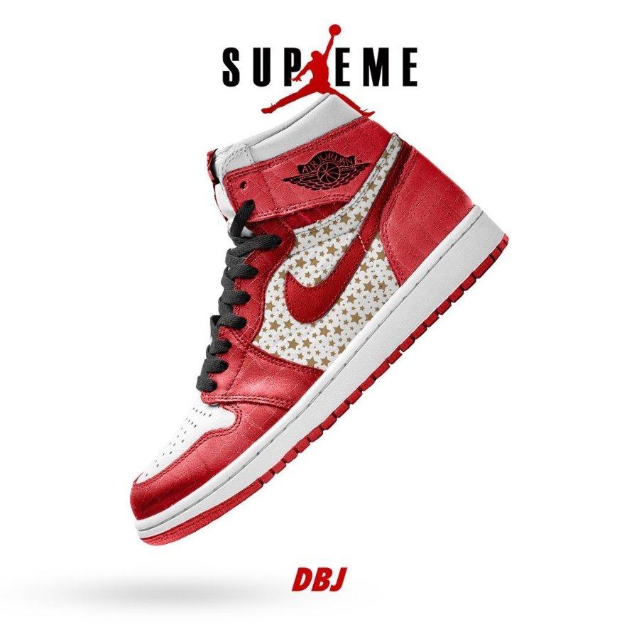 Aspecto de las posibles zapatillas Jordan 1 de la supuesta colaboración de Supreme y Jordan