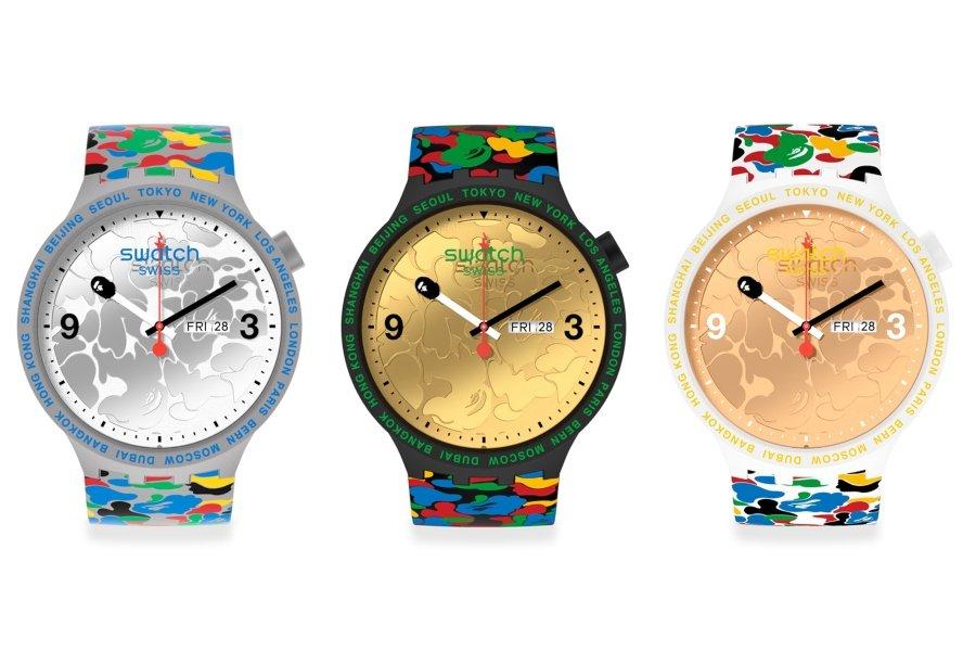 Colección de tres relojes colaborativos de Bape y Swatch