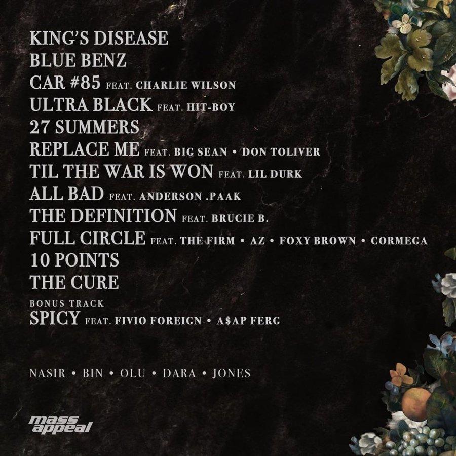 track list del álbum King´s Disease de NAS