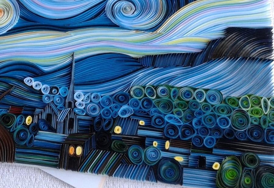 """""""La noche estrellada"""" hecha con papel por Vesna Rikic"""
