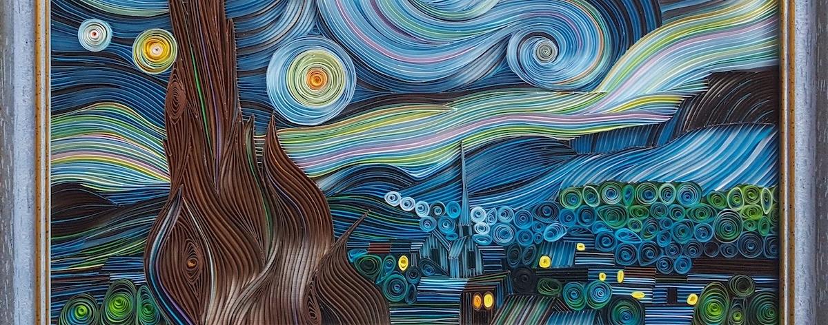 Vesna Rikic recrea con papel «La noche estrellada»