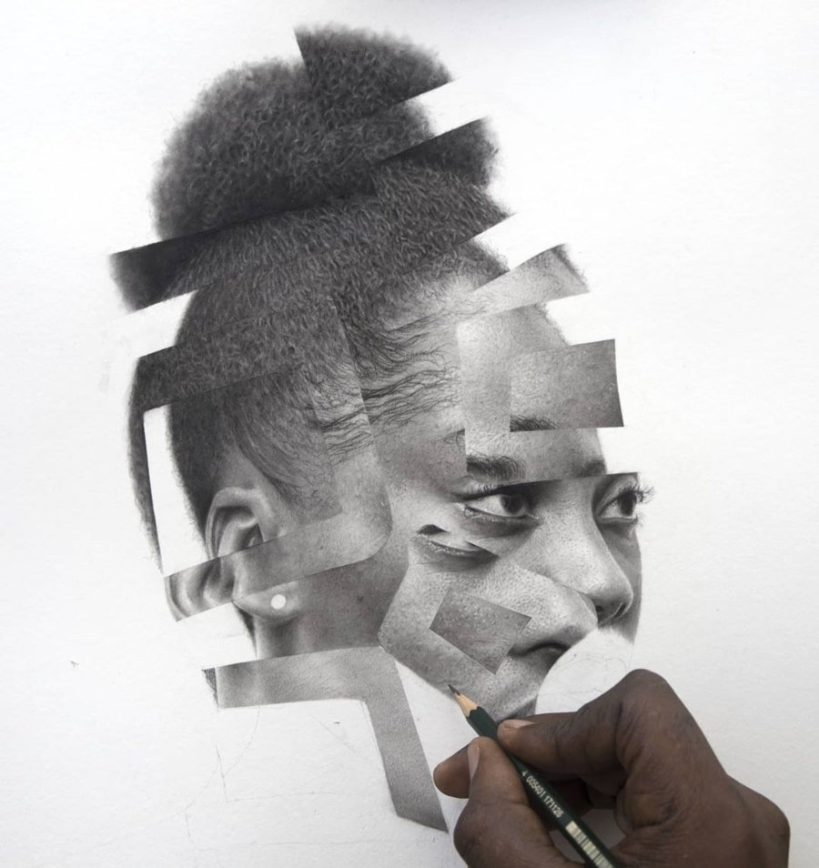 Arinze Stanley Paranormal Portrait #3 (Work in progress)_Charcoa… paper_15.3' x 18'