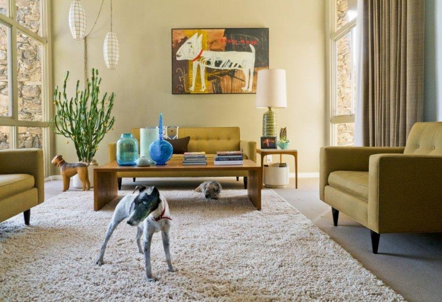 Winston y Peanut (debajo de la mesa), Smooth Fox Terrier, Border Terrier, Rescues, Arquitecto: Donald Wexler, 1965