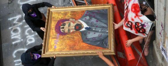 Cuadro de Francisco I. Madero es pintado y subastado por colectivos feministas