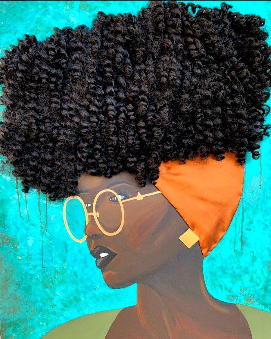 Pintura de mujer con cabello real