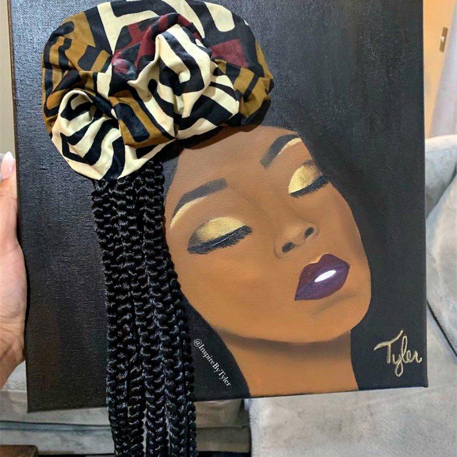 Pintura de mujer con cabello real por Tyler Clarck