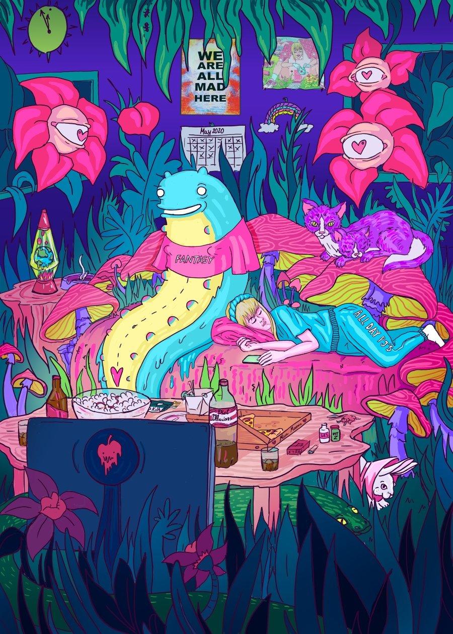Ilustración de la serie Alice in Lockdown de Marta Zubileta