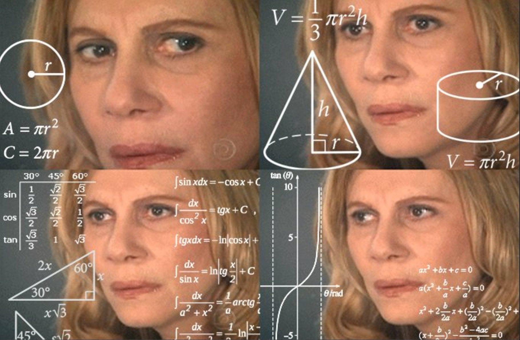 Fondos virtuales de zoom; meme de la señora  confundida que está haciendo cálculos