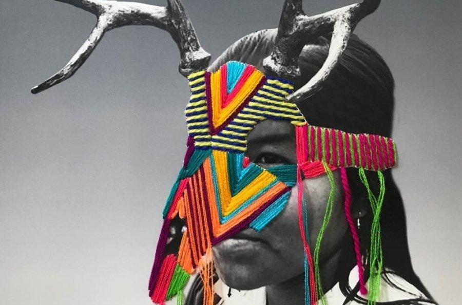 Retrato bordado de mujer con máscara por Victoria Villasana