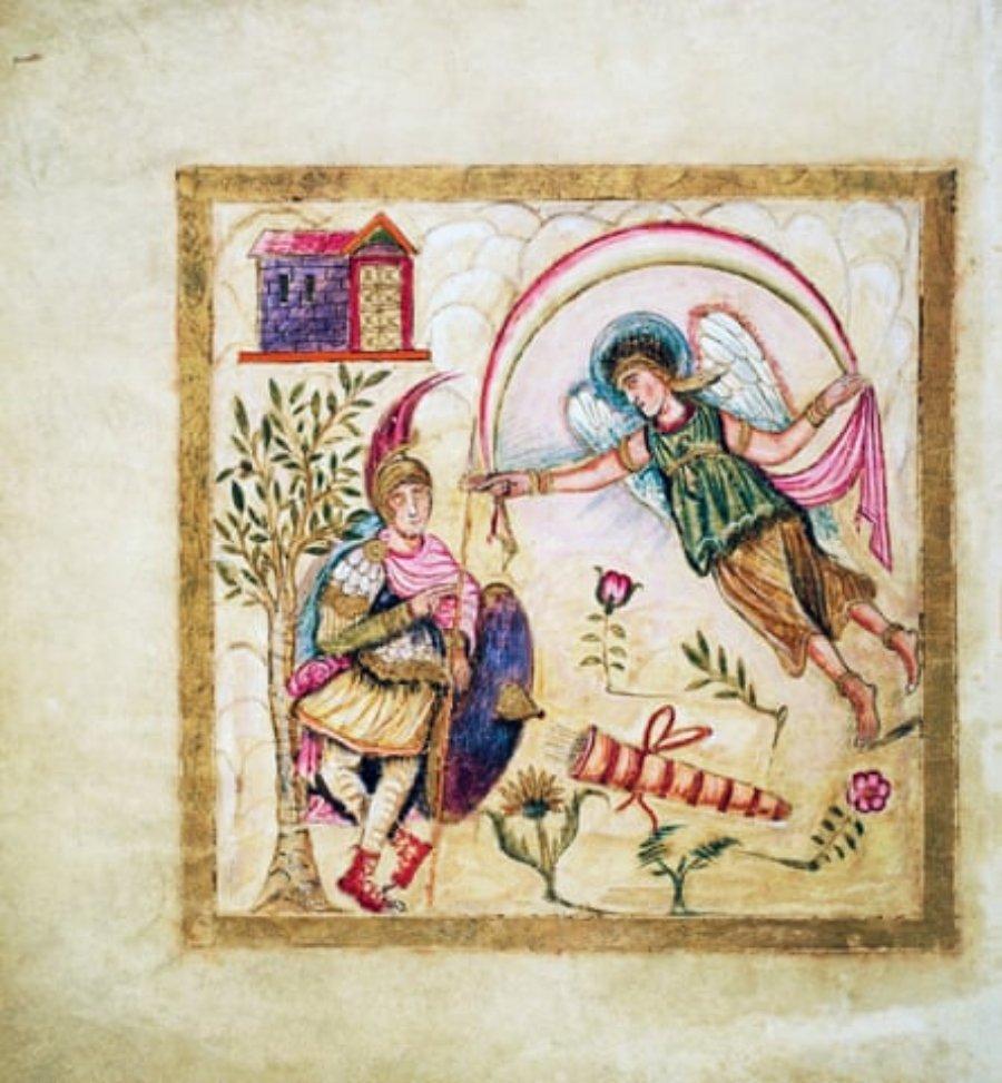Un fragmento ilustrado de la Eneida de Virgilio en la colección de la biblioteca del Vaticano.