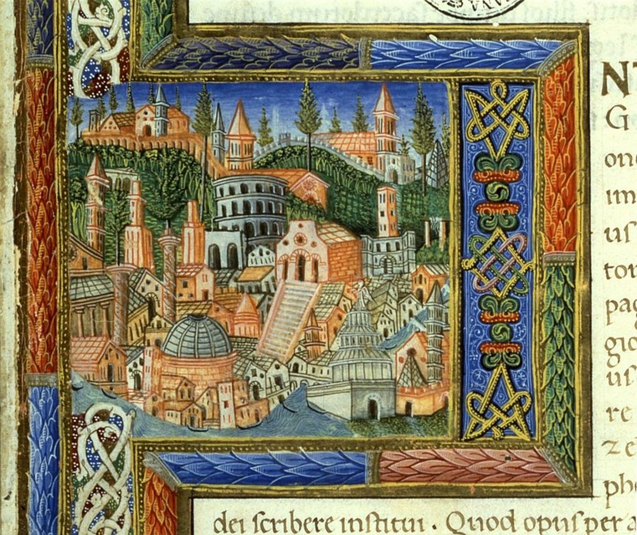 View of the city of Rome - Miniature of the Code De Civitate Dei by Saint Augustine, by Giovanni from Milano, Jacopo from Fabriano, 1456, 15th century. Vatican City, Apostolic Vatican Library.