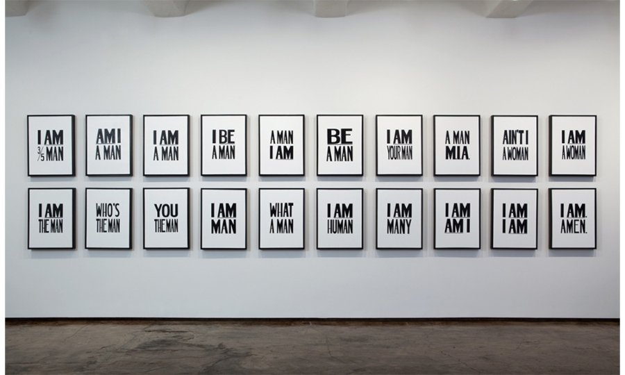 I Am. Amen., 2009. Liquitex on canvas, 25 1/4 × 19 × 1/4 × 2 1/4 inches each. Installation view. Collection of Ulrich Museum of Art, Wichita State University. Image courtesy of the artist and Jack Shainman Gallery, New York.