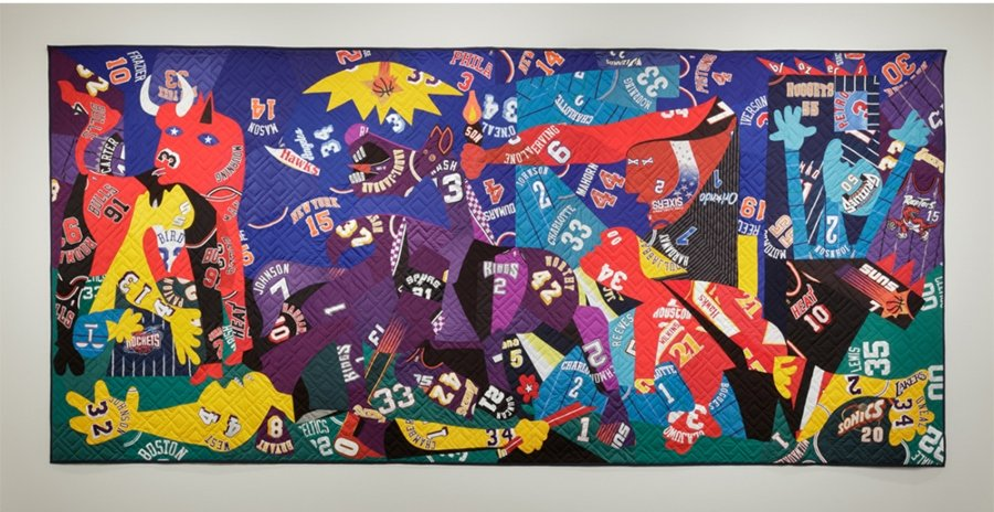 Guernica, 2016. Mixed media, including sport jerseys, 131 × 281 inches. Private Collection. Courtesy of the artist and Jack Shainman Gallery, New York.