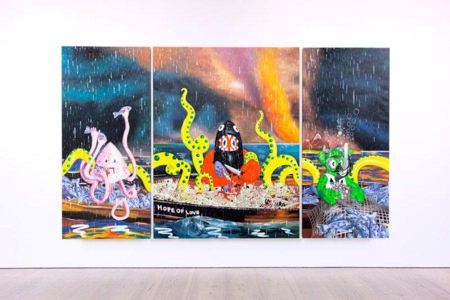 """Obra de la exposición """"Lobsteropolis"""" de Philip Colbert"""