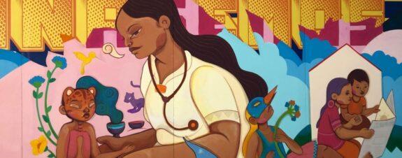 Gracias por cuidarnos, mural de Eva Bracamontes y WhatIsAdam
