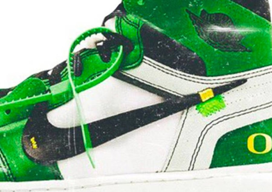 "Modelo Off White x Air Jordan 1 ""Oregon Ducks"""