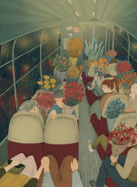 Ilustración con camién de niños sosteniendo flores