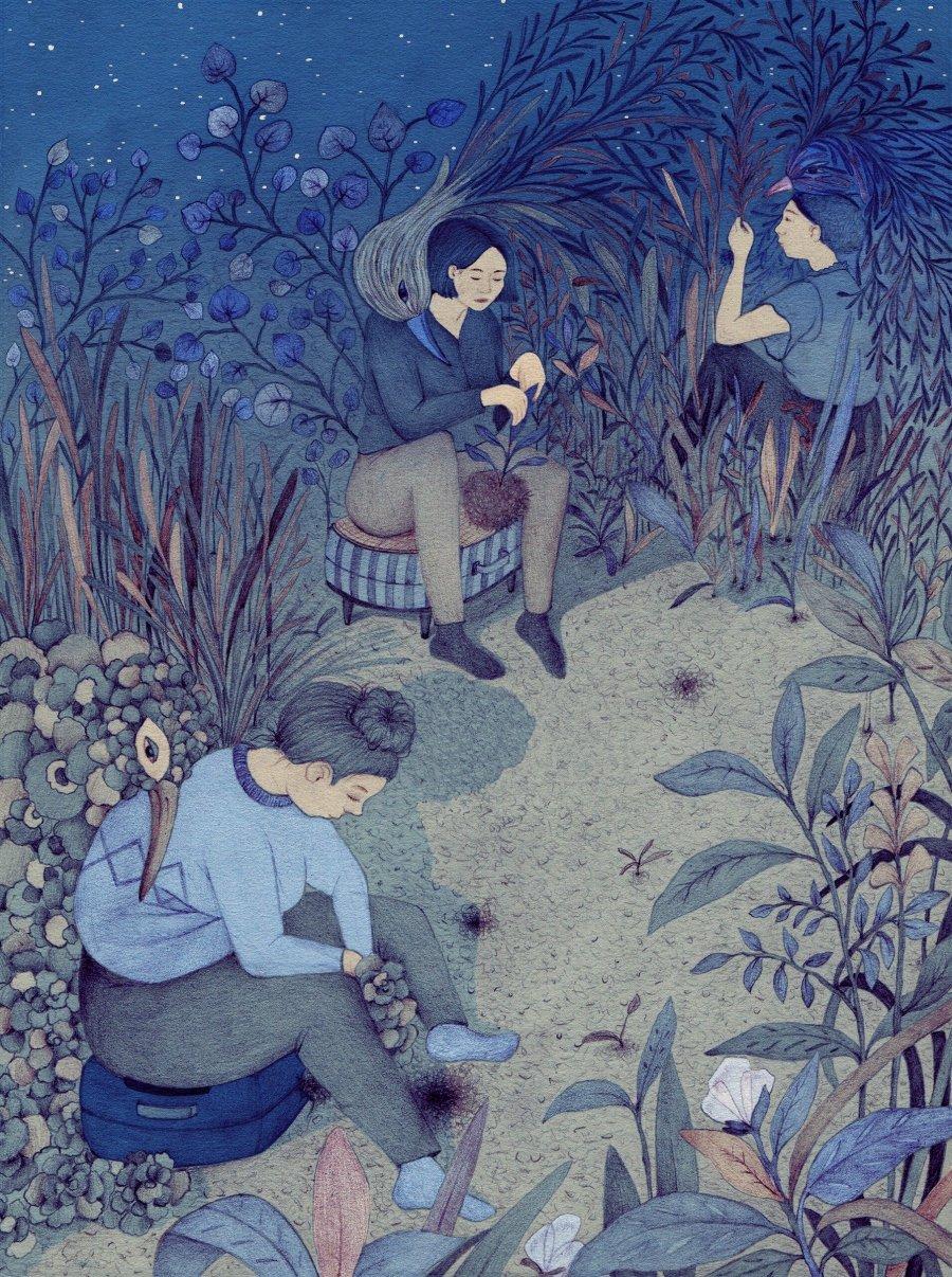 Ilustración de dos personas sentadas en un jardín de flores y plantas