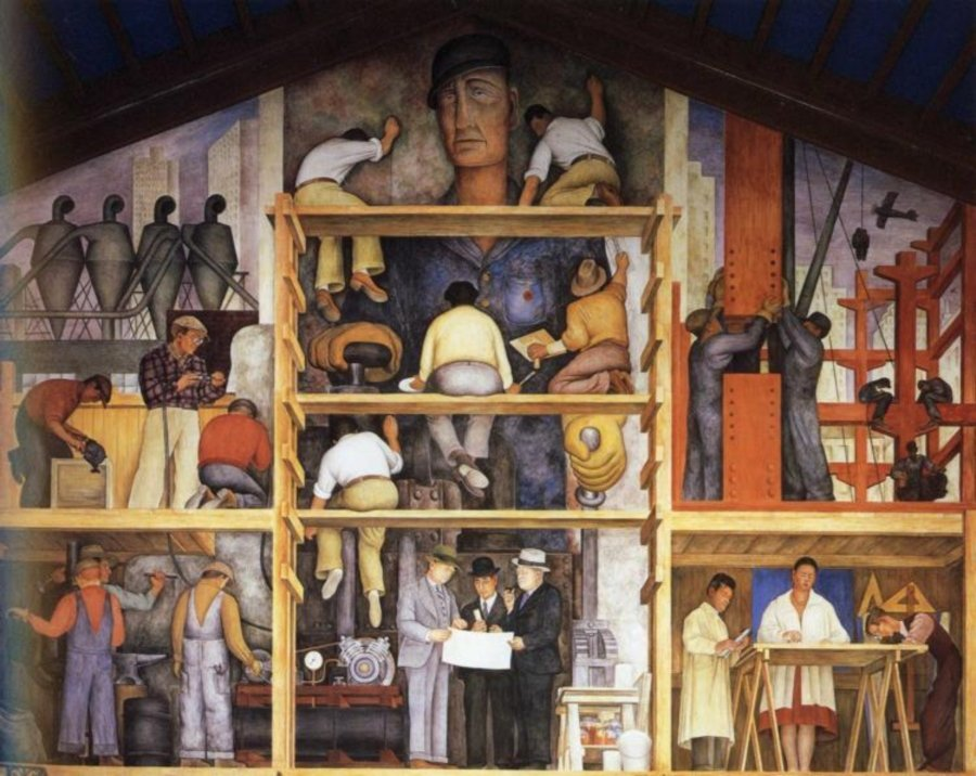 Mural mural The Making of a Fresco Showing the Building of a City de Diego Rivera.