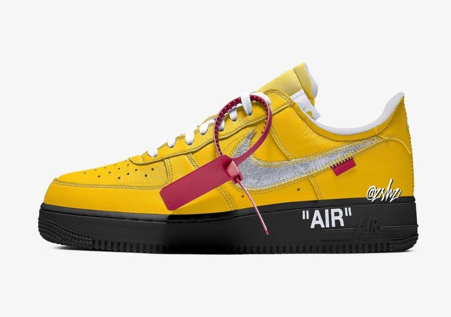 Aspecto de los Air Force 1 de Off White y Nike