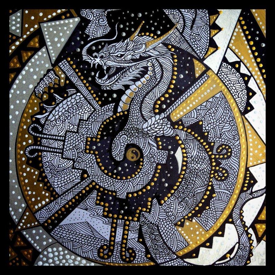 """Dragon Indestructible"""" Dan Santino Técnica mixta 45 x 30 cm"""