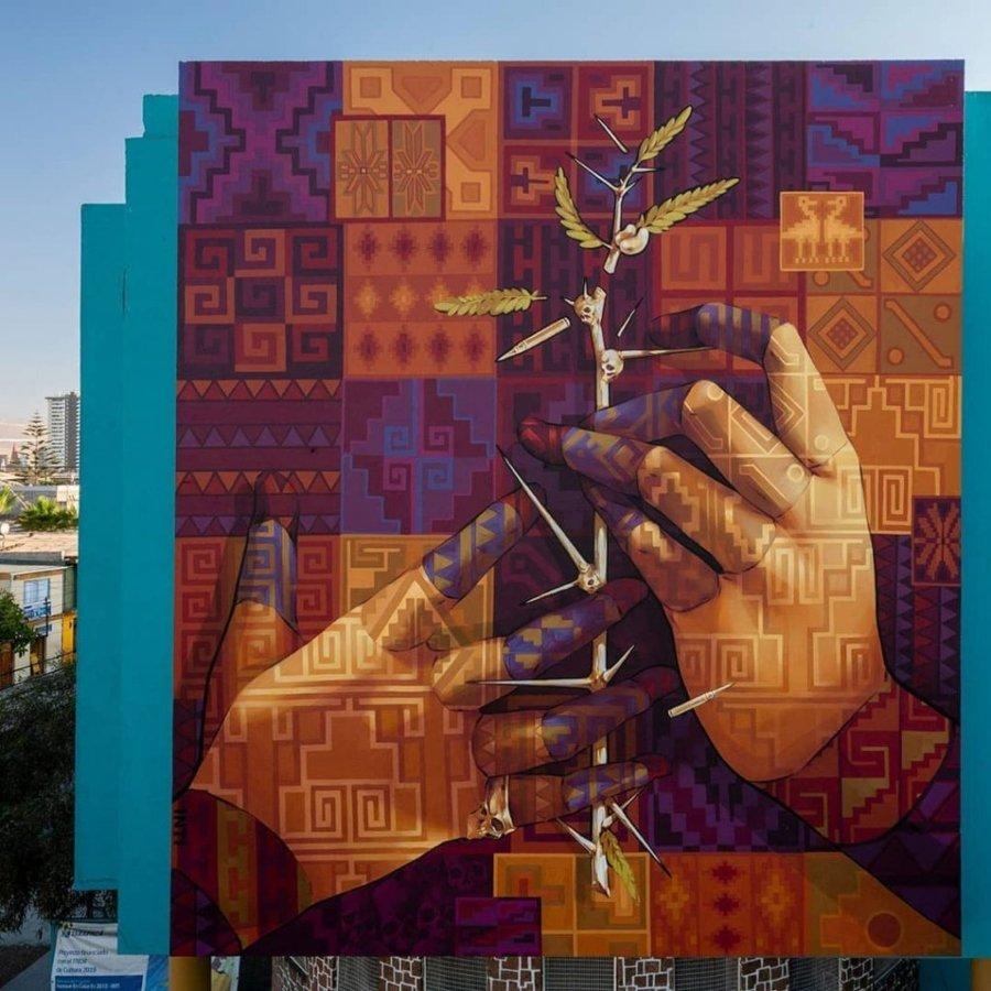 INTI presentó su nuevo mural en Chile, street art en edificio de Chile
