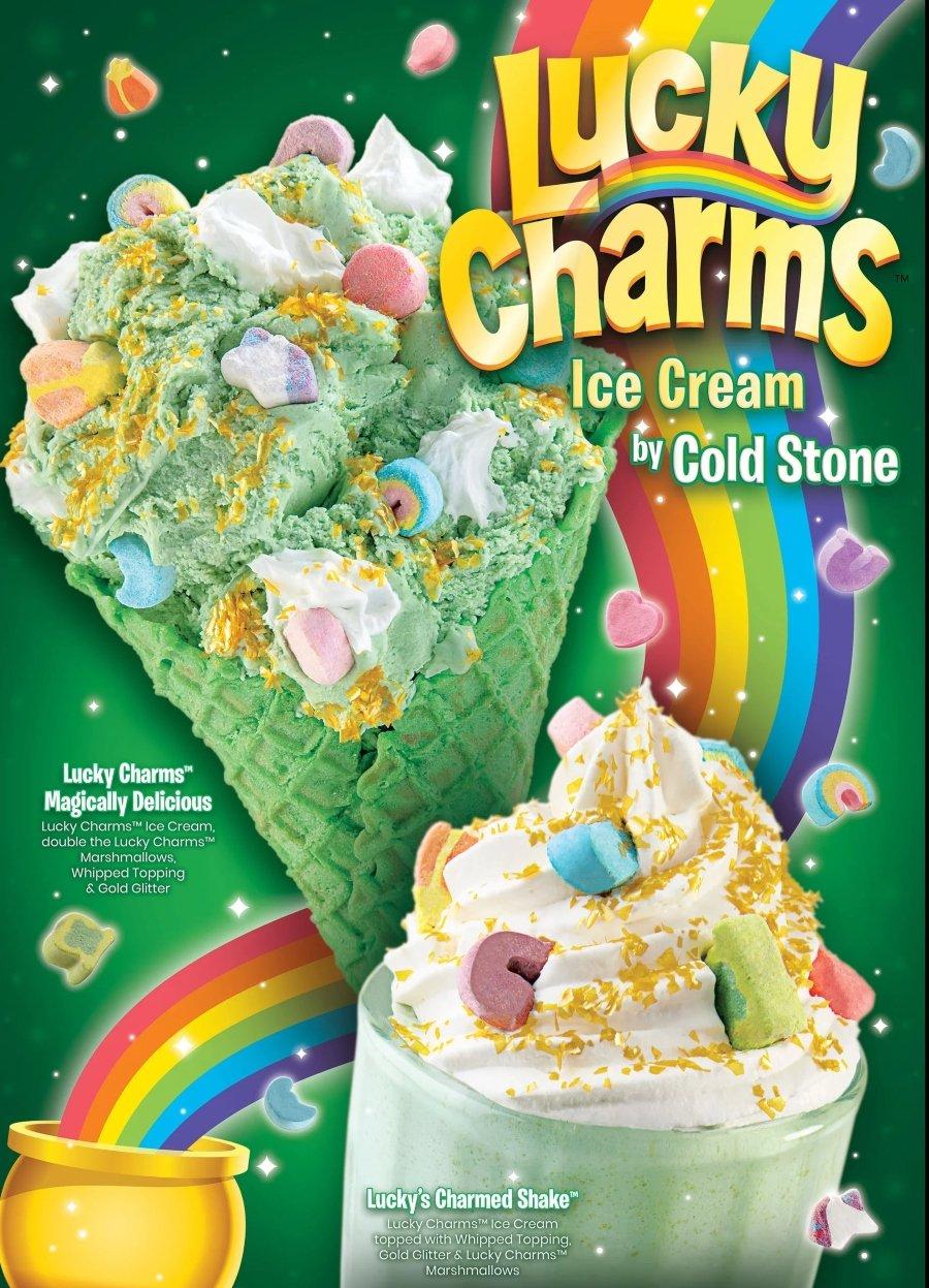 Lucky Charms con helado con polvos de oro con brillo