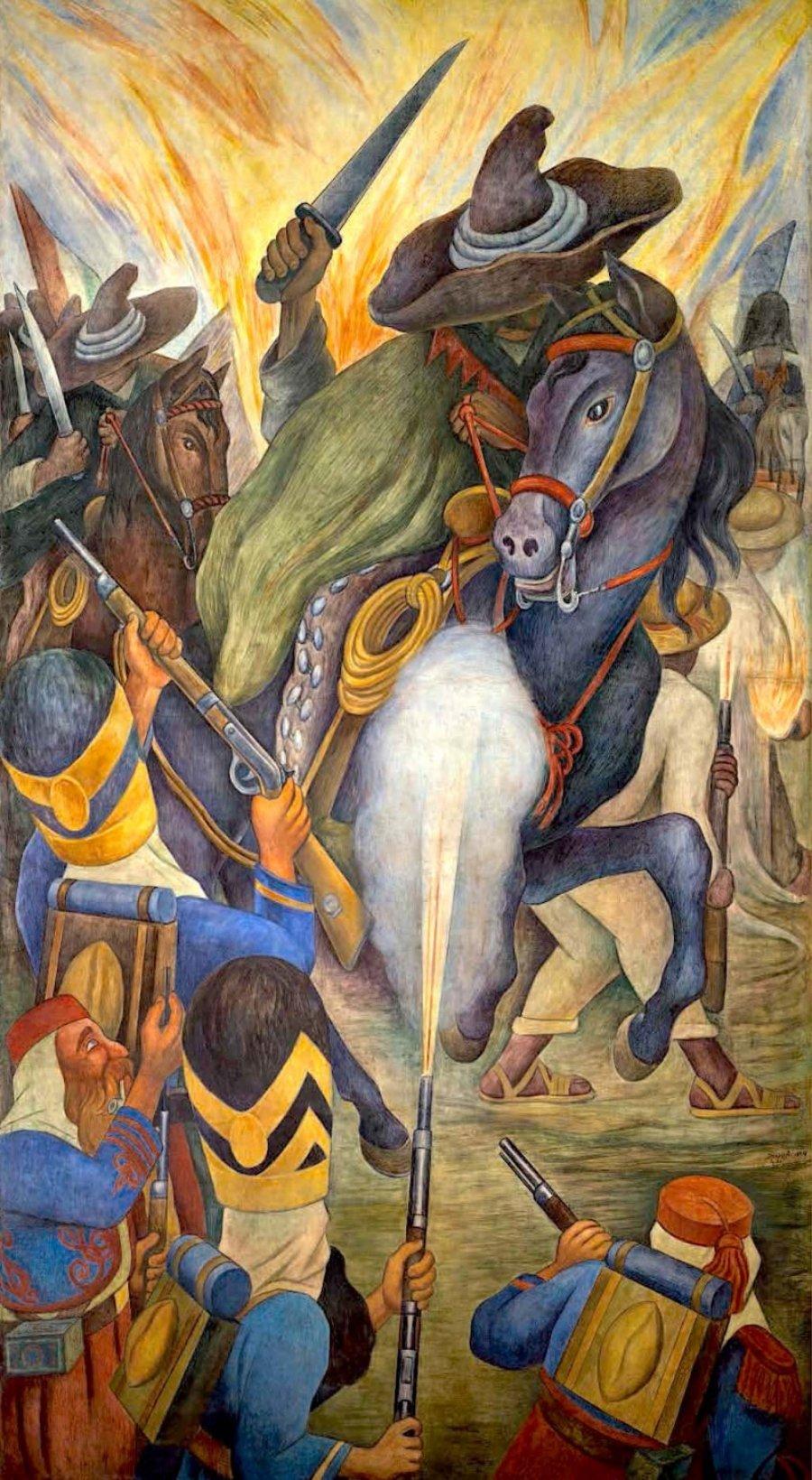 Leyenda de Agustín Lorenzo; pintura de hombres con sombrero ancho empuñando un machete, sobre un caballo, pelean contra el ejército