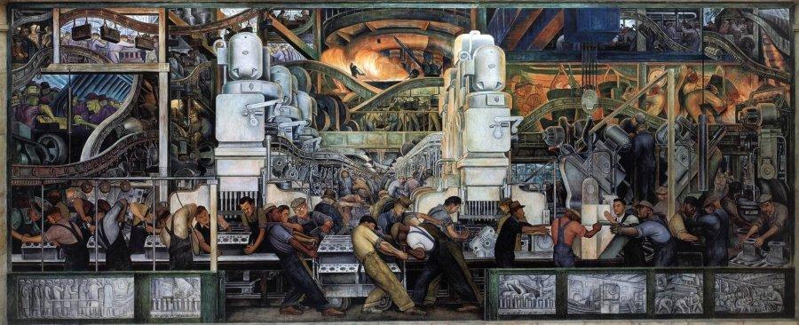 """""""Industria de Detroit"""", mural de Diego Rivera sobre la clase obrera, el progreso tecnológico en la industria automotriz. Hombres trabajan en la industria"""