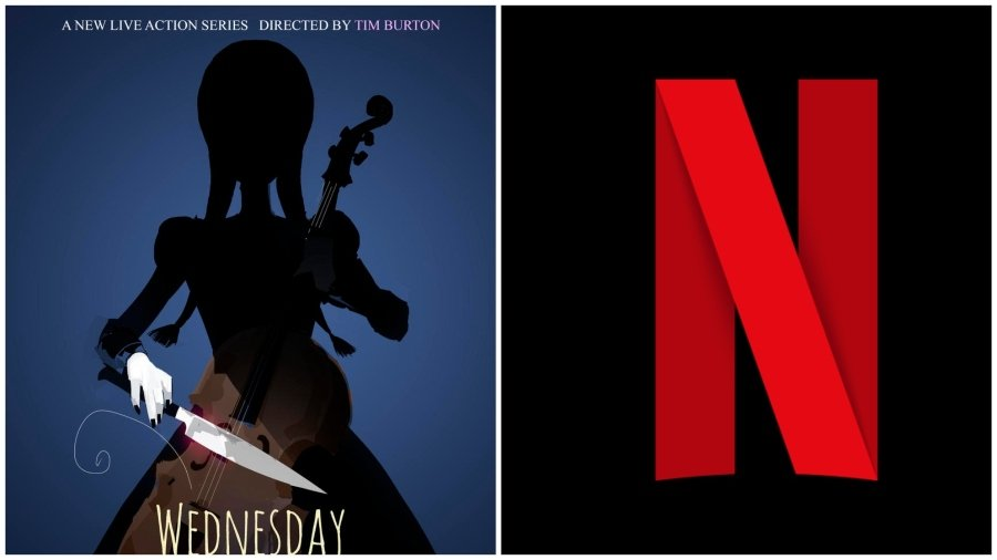 Portada de Wednesday y logo de Netflix