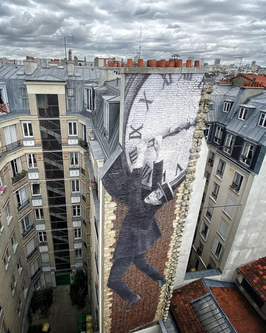 Mural por JR en Francia