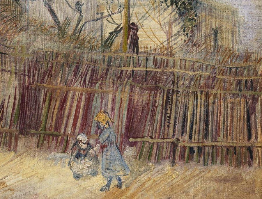 """Detalle de cuadro """"Scène de rue à Montmartre"""""""