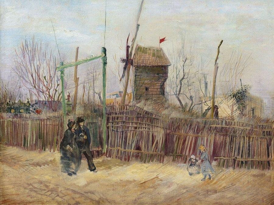 """Detalle del cuadro """"Scène de rue à Montmartre"""""""